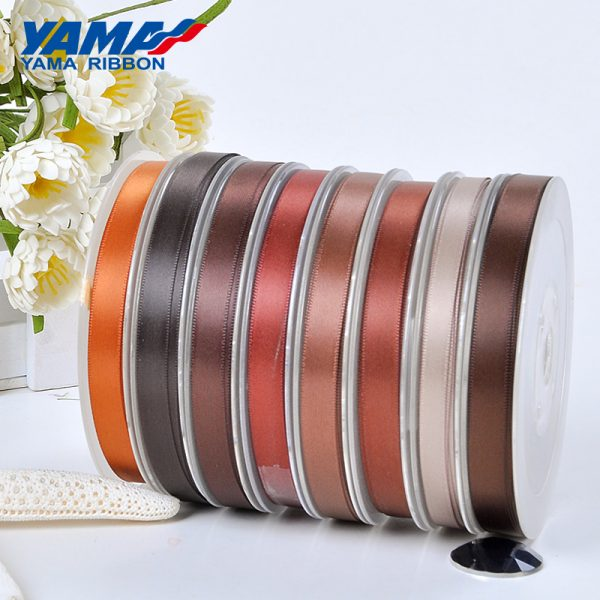 yama single faced brown satin ribbon