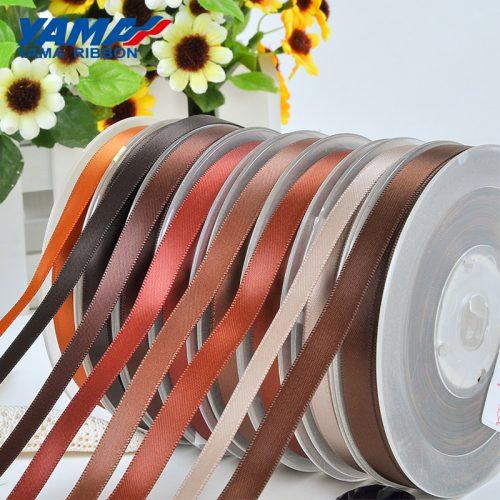 yama single faced brown satin ribbon