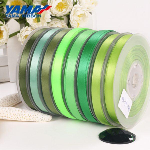 yama double faced green satin ribbon
