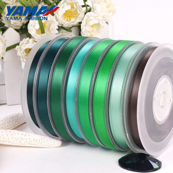 yama single faced green satin ribbon