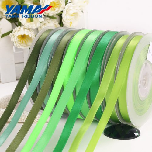 yama single faced green satin ribbon