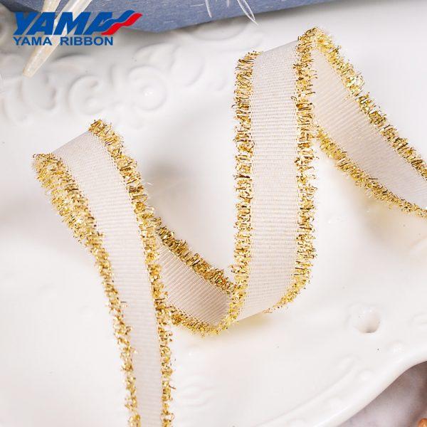 Gold Purl Grosgrain Fringe Ribbon