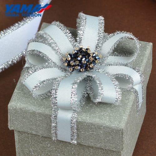 Silver Purl Grosgrain Fringe Ribbon