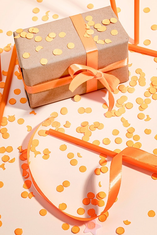 orange gift ribbon