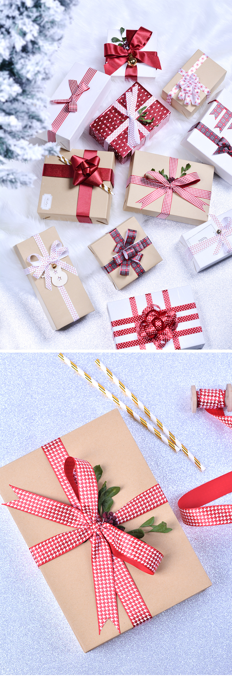 Red Christmas Printed Ribbon